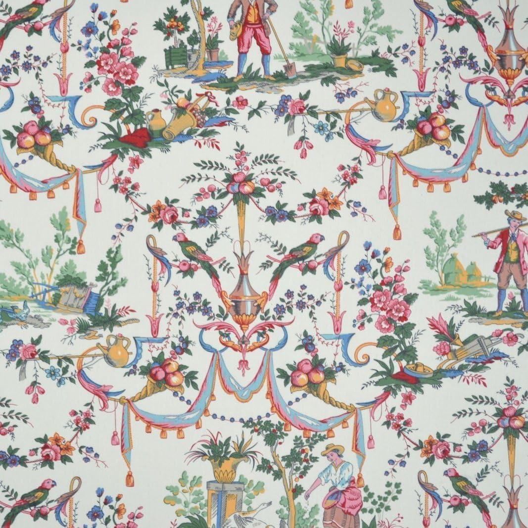 Amazon.com: Double Width Luxury Toile de Jouy Fabric (La vie à la ...