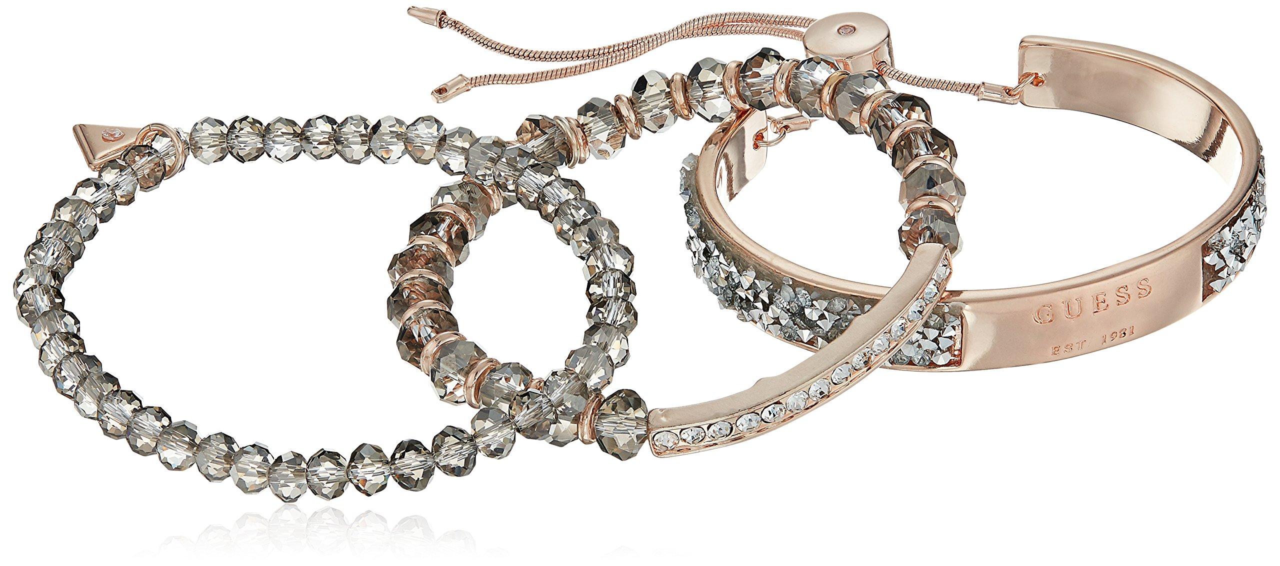 GUESS Bracelet Items Women's 3Pc Bracelet Set W Stones, Rose Gold, One Size