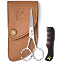 Beard & Mustache Scissors With Comb For Precise Facial Hair Trimming - Sharpness and Stainless Steel Give These Scissors Durability That Will Last