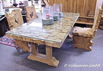 Unikat teak glas esstisch teakholz antik massiv tisch tafel