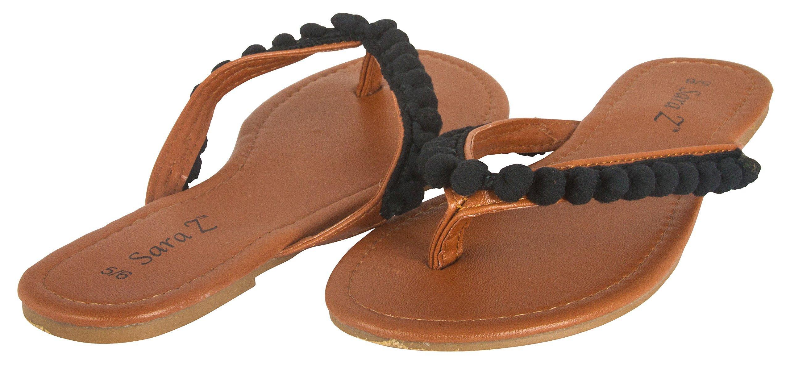 Sara Z Ladies Pom Pom Thong Sandal 11 Black