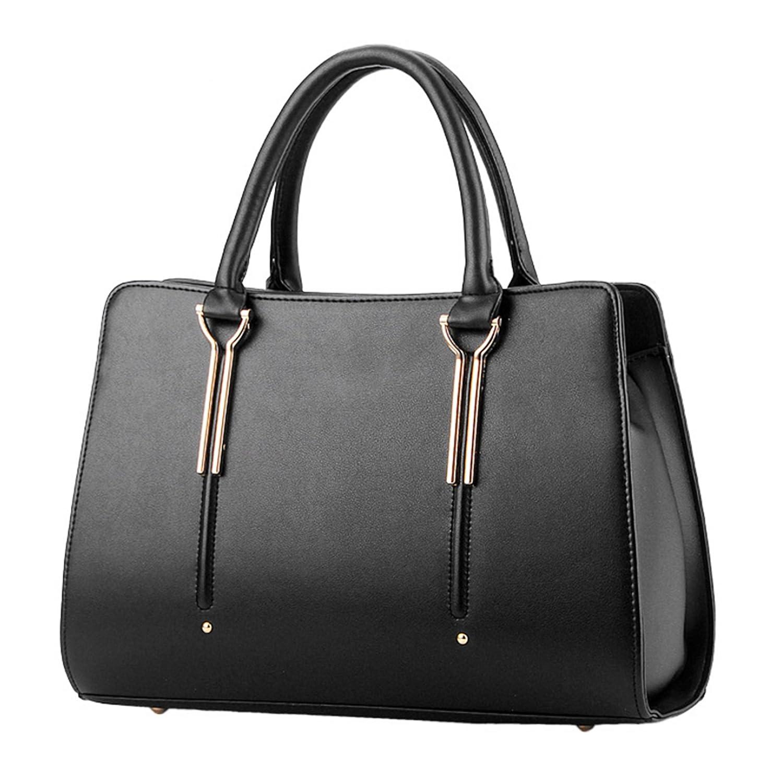 e741fdd5c1 Womens Pure Color Pu Leather Boutique Tote Bags Top Handle Handbag  Handbags   Amazon.com