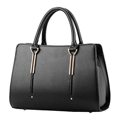e741fdd5c1 Womens Pure Color Pu Leather Boutique Tote Bags Top Handle Handbag  Handbags   Amazon.com