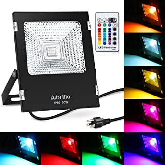 Albrillo 50w outdoor led flood lights rgb plug in outside security albrillo 50w outdoor led flood lights rgb plug in outside security lights with 360 degree remote mozeypictures Gallery