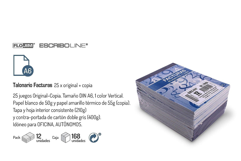 12 Talonarios Mini Factura - DIN-A6 40 juegos x Duplicado: Amazon ...