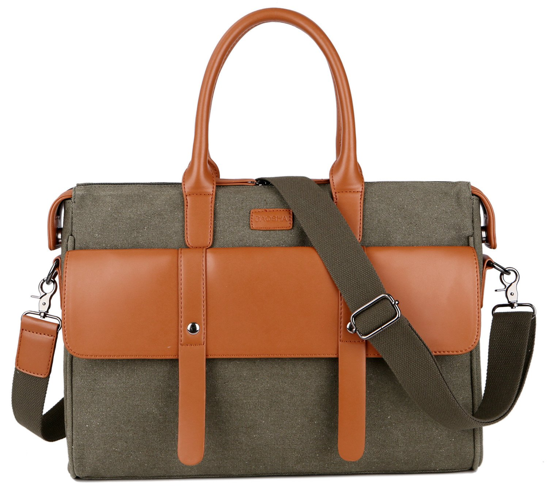 BAOSHA TB-03 Ladies Canvas Laptop Bag Briefcase Crossbody Messenger Bags Fit 14'' Laptop (Green)