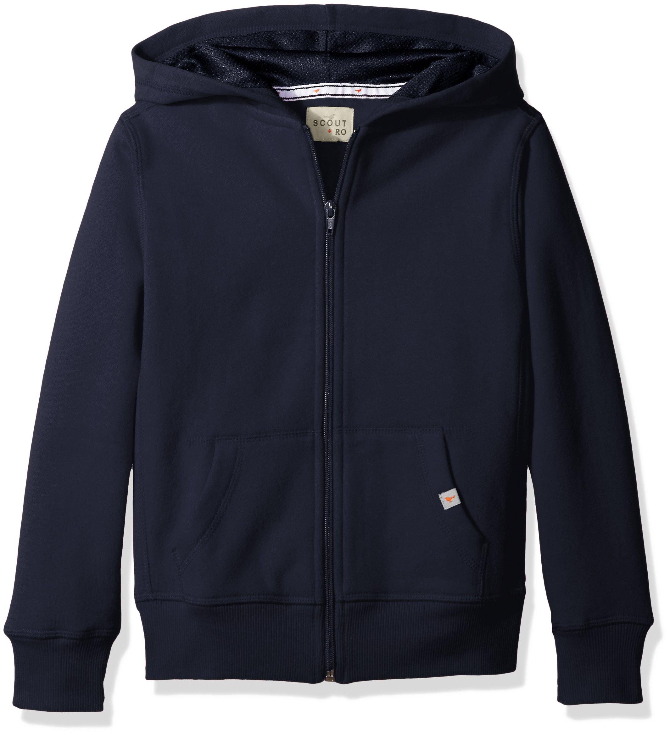 Scout + Ro Big Boys' Basic Fleece Hooded Jacket, Swim Navy, 14