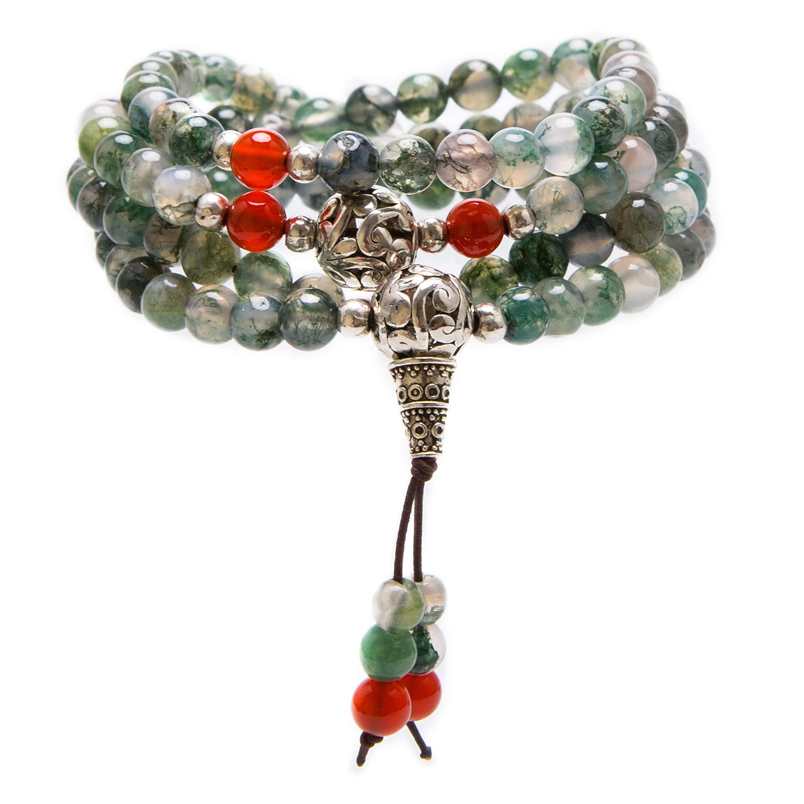 Nupuyai 6mm 108 Healing Gemstone Mala Prayer Beads Stretch Bracelet Necklace for Men and Women
