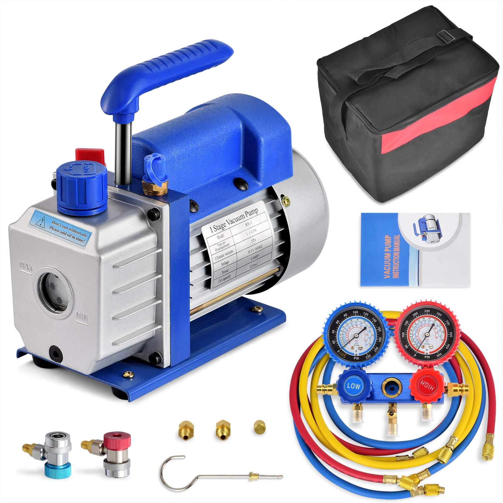 3.5CFM 1/4HP Air Vacuum Pump HVAC A/C Refrigeration Kit AC Manifold Gauge Set w/Leak Detector, 1/4HP Air Conditioner Refrigerant HVAC Air Tool