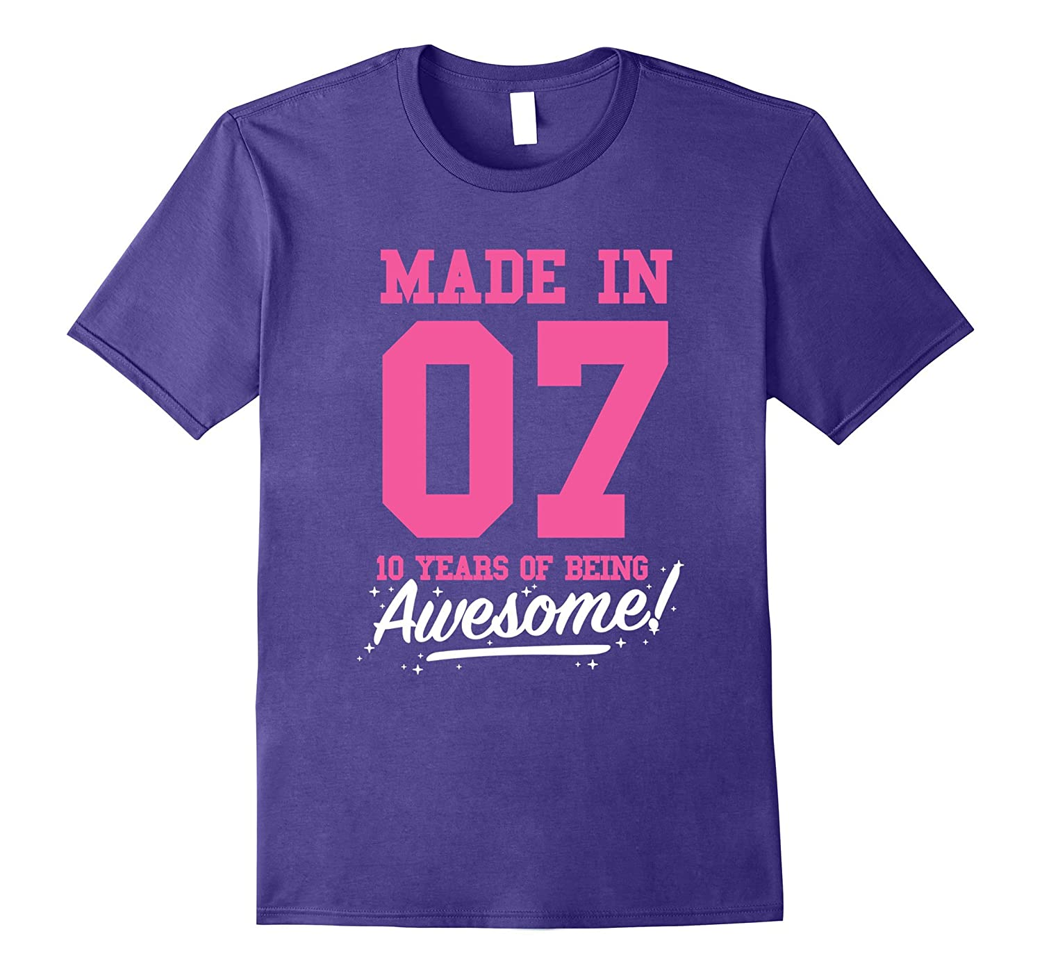 Made In 2007 Awesome 10th Birthday Girl Shirt Pink T-shirt-T-Shirt