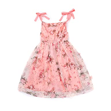 Amazon Flofallzique Flower Girls Dress Baby Floral Birthday For 1 6 Years Old5 Pink Clothing