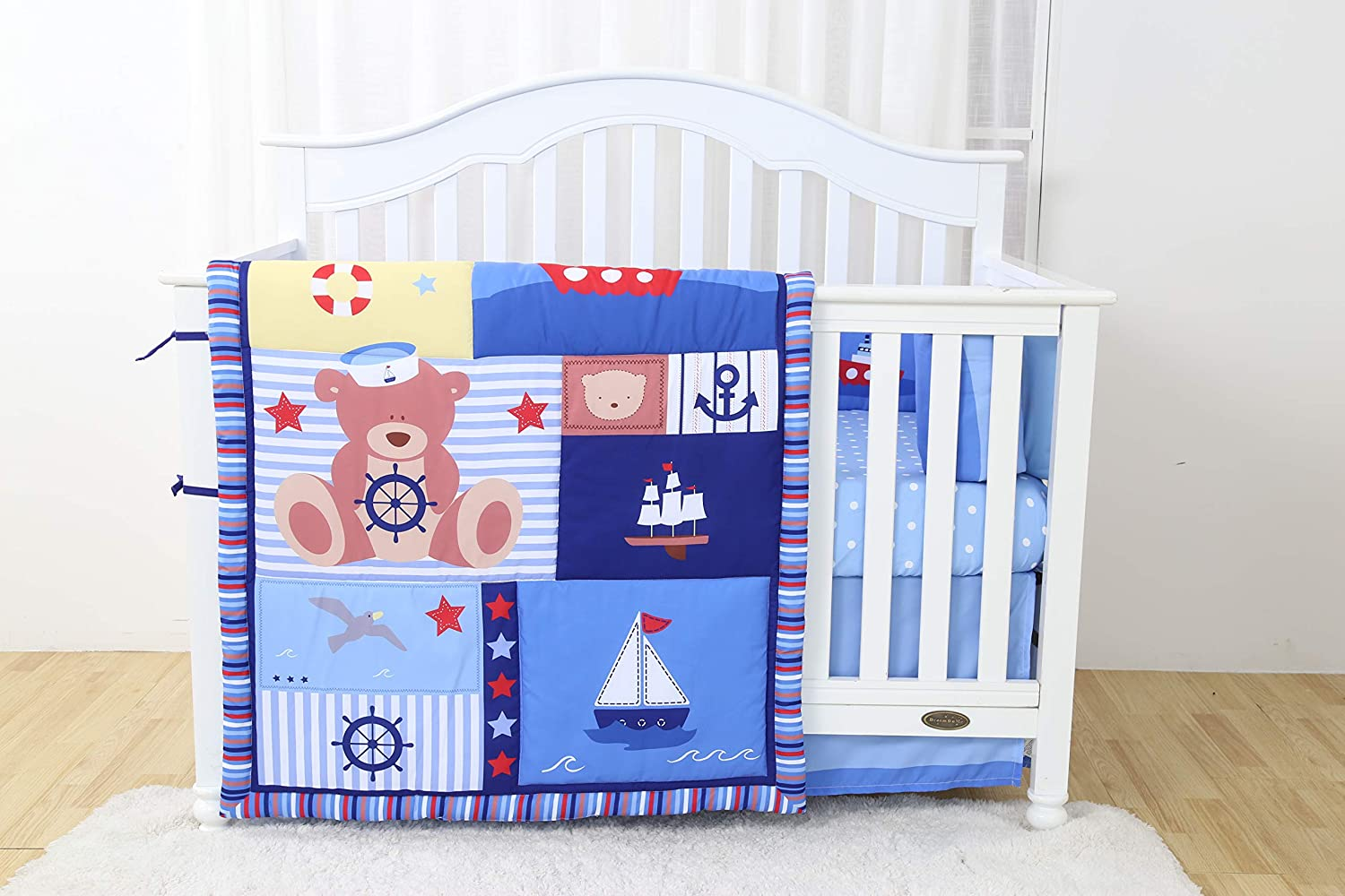 Linens And More Modern Luxury Quality 4 Piece Captain Bear Baby Boy Nursery Crib Bedding Set