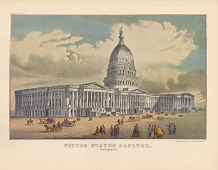 "1952 Vintage Currier /& Ives /""THE UNITED STATES CAPITOL/"" LOVELY COLOR Lithograph"