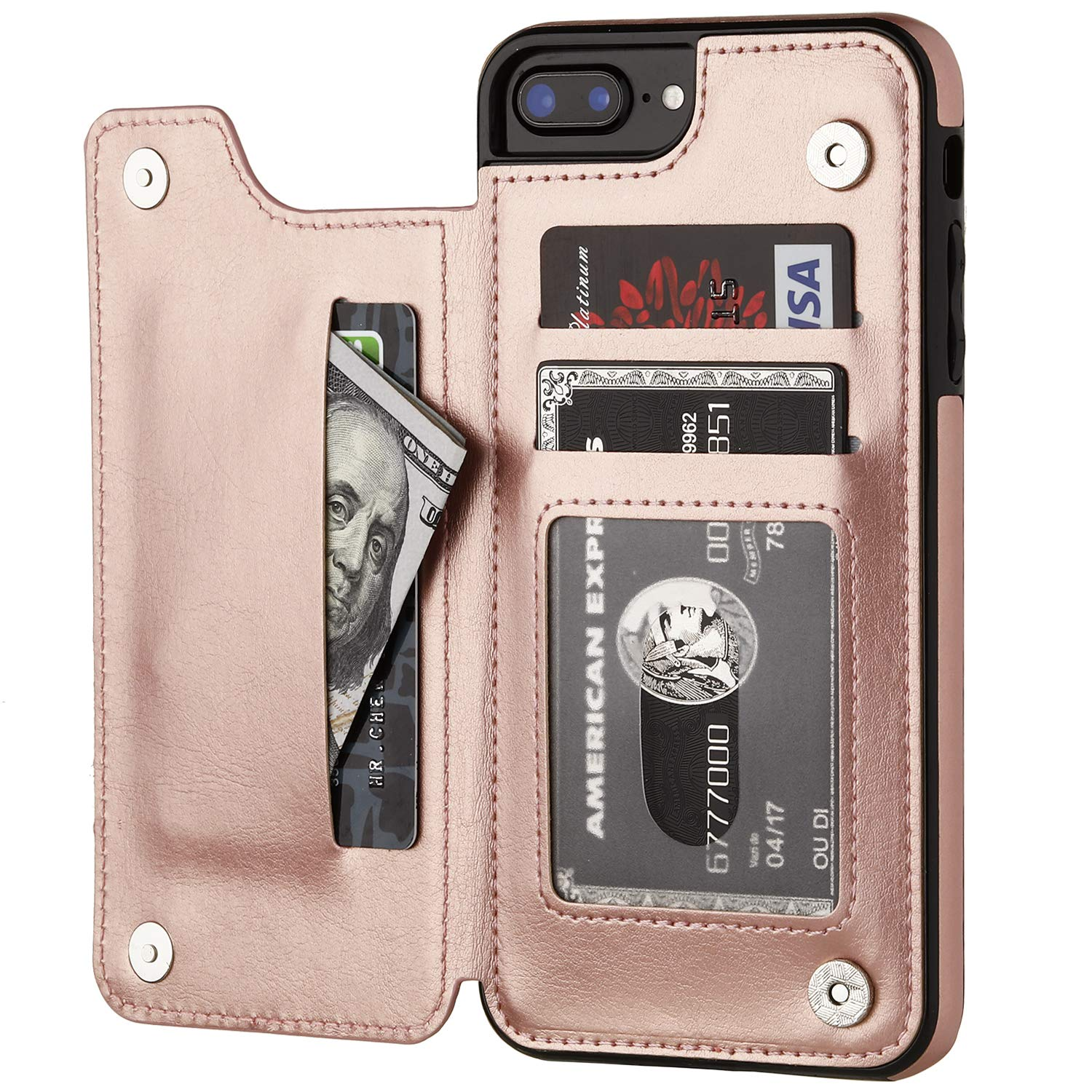 iPhone 7 Plus iPhone 8 Plus Wallet Case with Card Holder,OT ONETOP Premium PU Leather Kickstand Card Slots Case,Double Magnetic Clasp and Durable Shockproof Cover 5.5 Inch(Rose Gold)