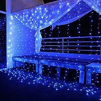 Yinuo Mirror Luces Navidad Led, Cortina de Luces 3x3㎡ Cable de Cobre 300 LED, Resistente al Agua, 31V, 8 Modos de Luz…