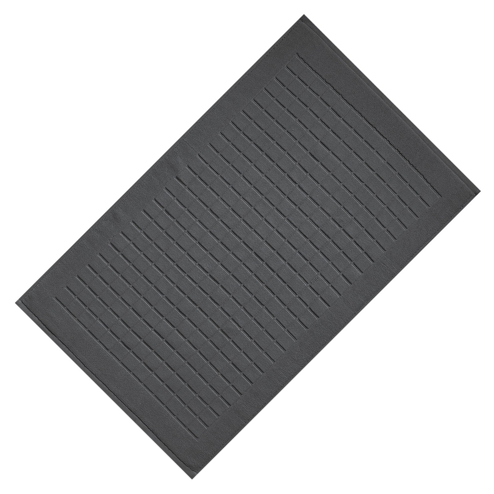 VEEYOO 20''x32'' Cotton Bath Mat for Shower, Luxury Hotel and Spa Quality Washable Bathroom Mat 1 Pack, Charcoal Checkered