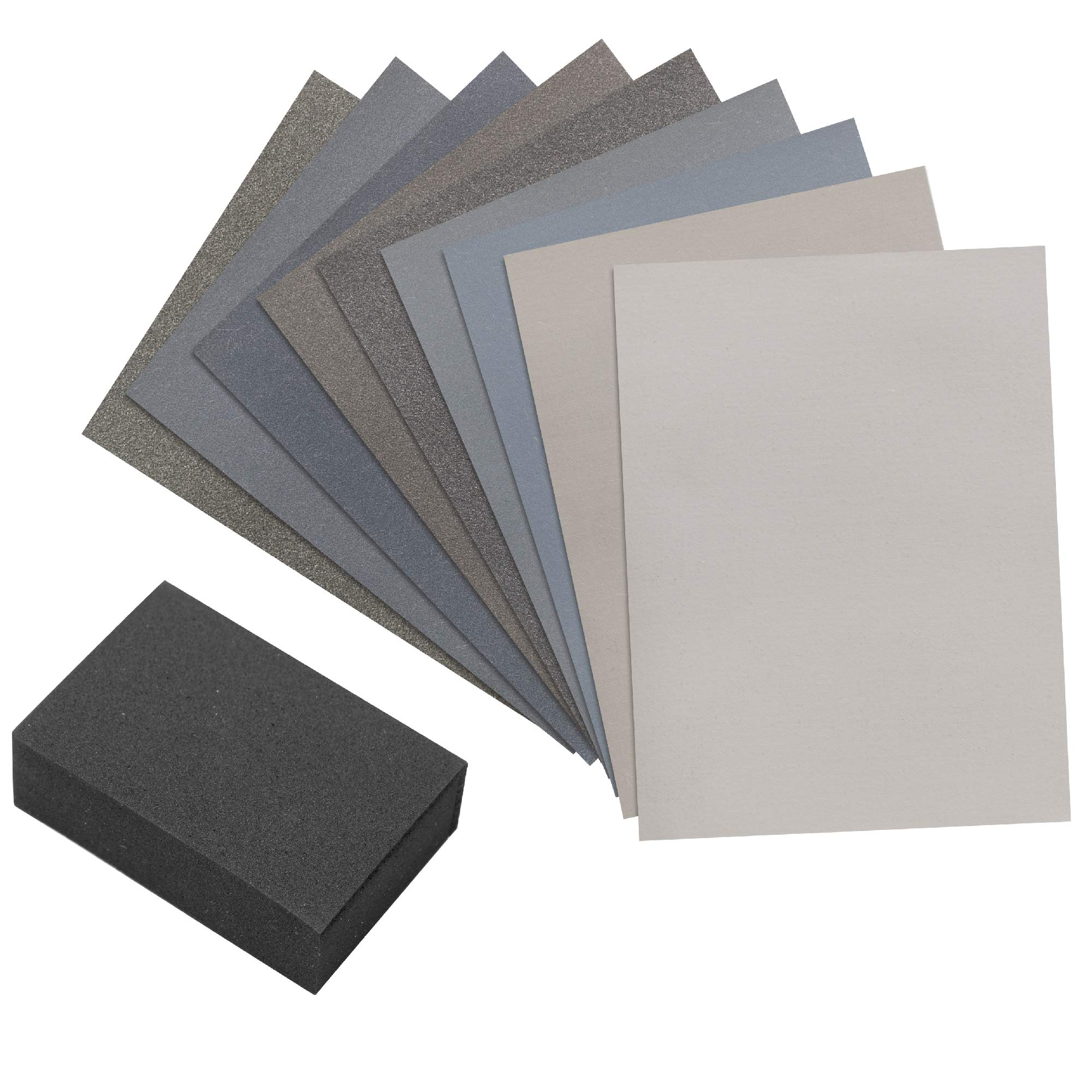 Micro Mesh 9 Sanding Sheet Introductory Woodworkers Kit with a 2 inch by 3 inch Foam Sanding Block by   Micro Mesh