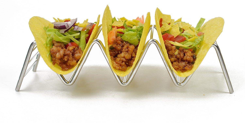 Soporte para Tacos de acero inoxidable HapWay soporte para comida mexicana para tacos duros o blandos, acero inoxidable, 4 Stack Holder: Amazon.es: Hogar