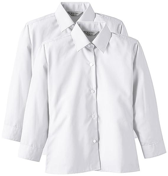 Trutex 2PK LS Non Iron Blouse - Blusa para Niñas, Color Blanco, Talla 11