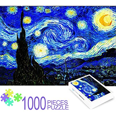 Starry Sky Famous Painting 1000 Pcs Puzzle Adult – DIY Large Jigsaw Puzzle for Kids Adults Game Interesting Toys - Hand Made Puzzles Personalized Gift Family Games, Home Decoration, for Boys and Girls: Toys & Games