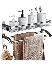 HOMFA Toallero Barra Acero Inoxidable Toallero doble para baño Estantería de Baño con barra de toalla y Ganchos Adicionales de Pared sin Taladrar