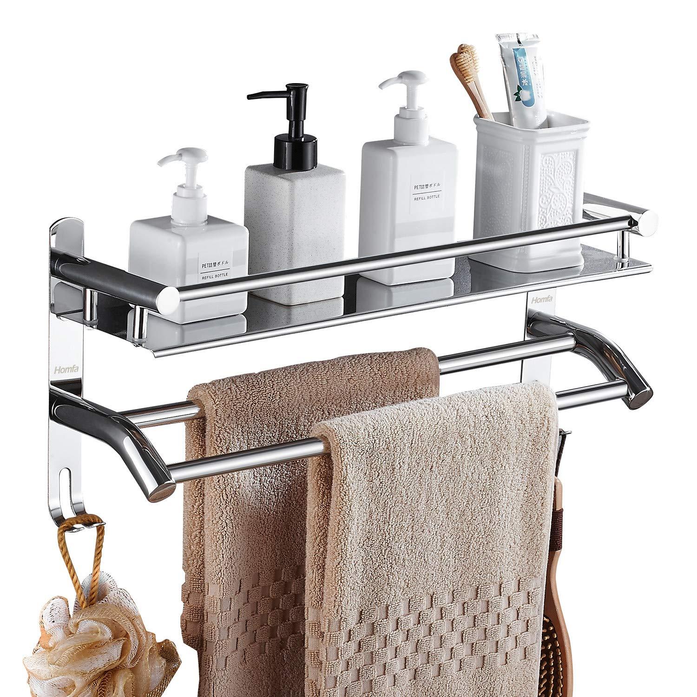 HOMFA Toallero Barra Acero Inoxidable Toallero doble para baño Estantería de Baño con barra de toalla y Ganchos Adicionales de Pared sin Taladrar: ...
