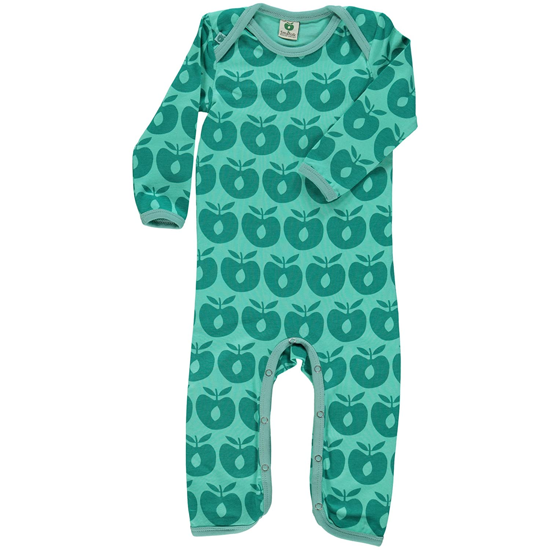 Smafolk Jungen Bodysuit Overall Schlafanzug mit Äpfel Grün Bio-Baumwolle Öko-Tex Standard
