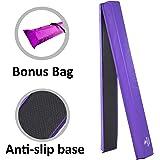 Junior Gymnastics Balance Beam – 8 Ft Folding Foam Low Floor Beam – Premium 18oz Vinyl with Additional High Density EVA Foam Strip for Safety