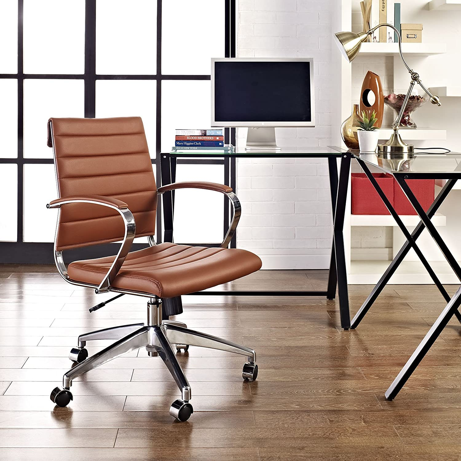 Modway Jive Ribbed Mid Back Computer Desk Swivel Office Chair In Terracotta