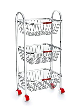 Priya Stainless Steel Trolley 3 Layers (14x12x4.25-inch, White)