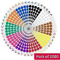 2 cm Multicolore Cercle Ronde Gommettes Autocollants - 10 Assortis Couleurs, Paquet de 2000