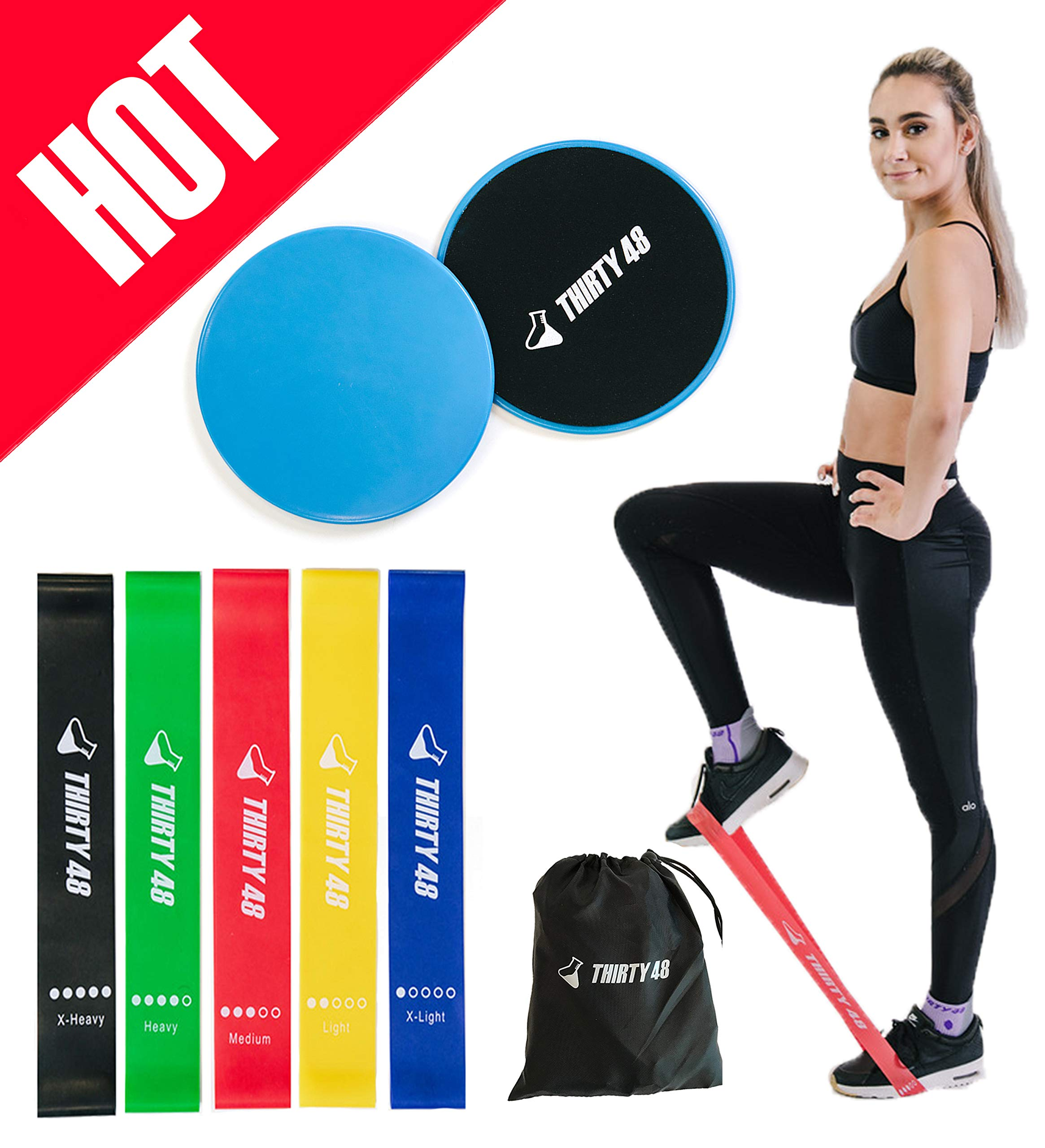 Thirty48 Gliding Discs Core Sliders and 5 Exercise Resistance Bands | Strength, Stability, and Crossfit Training for Home, Gym, Travel | User Guide & Carry Bag (Blue (Core Slider)) by Thirty48 (Image #1)