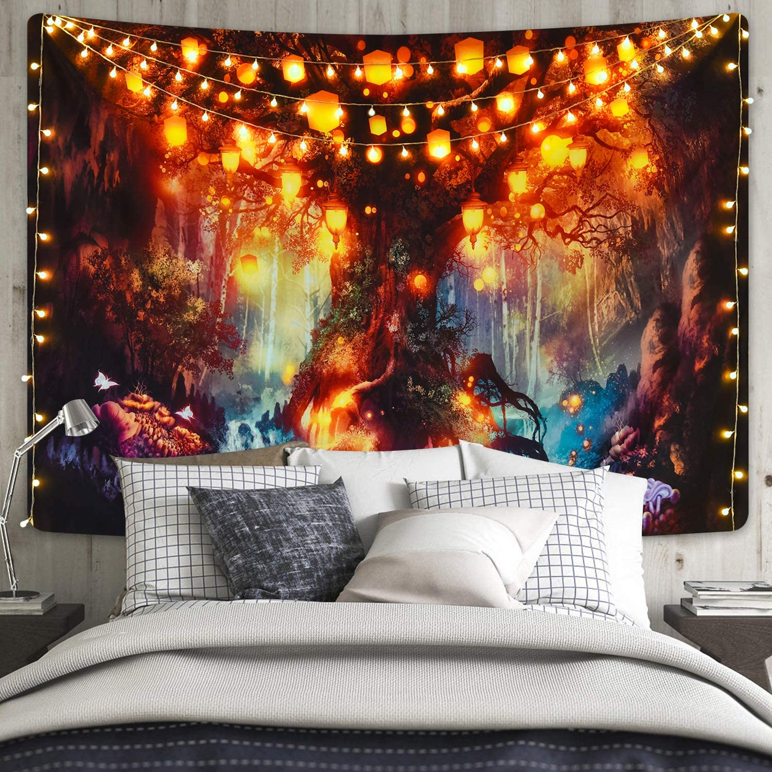 Fantasy Forest Tapestry Magical Tree of Life Tapestry Mystical Shining Lanterns Tapestry Waterfalls Under Ancient Enchanted Tree Tapestry for Room(70.9 x 92.5 inches)