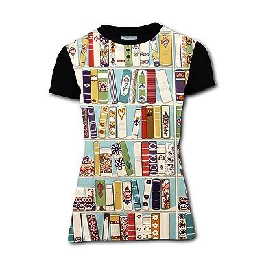 Cartoon Bookshelf Womens Casual T Shirt Tees Summer 3DPrinted Short Couple Sleeve Blouse