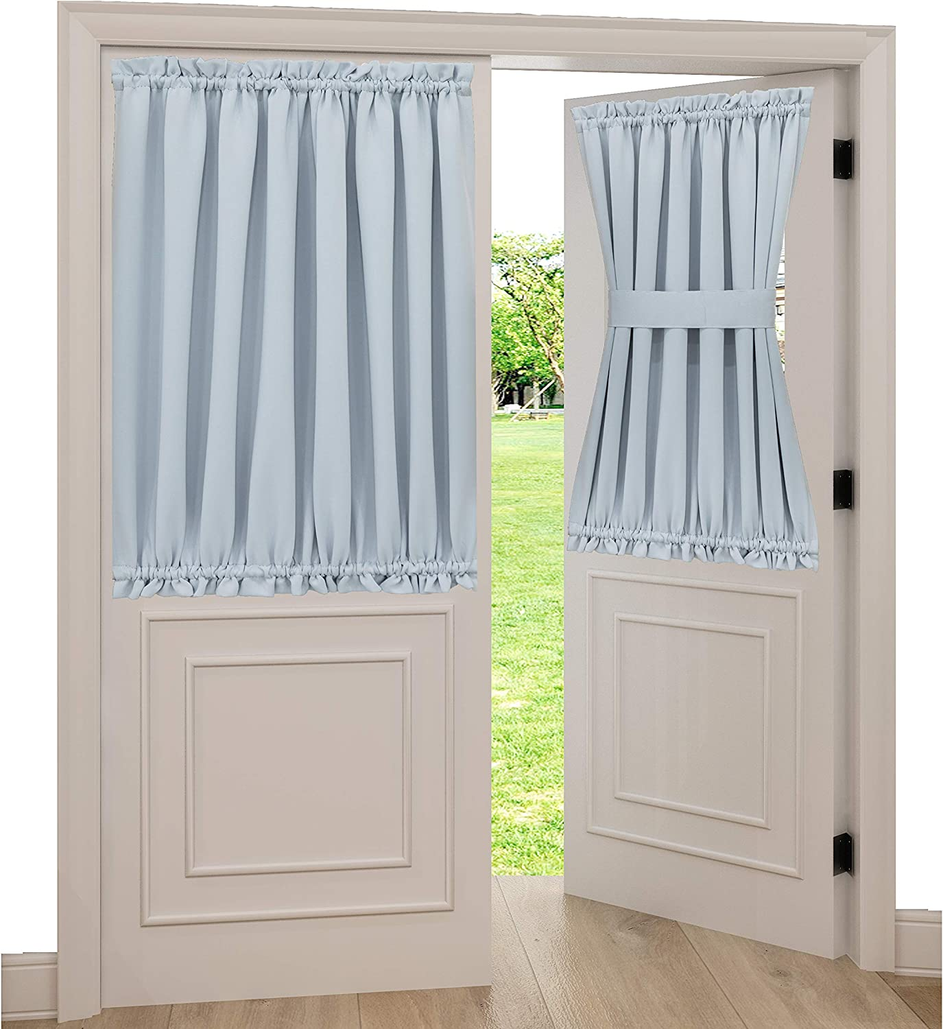 """Spring Garden Home White Blackout Curtains for Door Window Room Darkening Blackout Curtain Drapery for Front Glass Door, 1 Panel, 54"""" Width x 40"""" Length, Greyish White"""