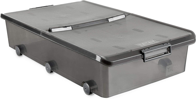 Tatay 1151114 Caja de Almacenamiento Multiusos Bajo Cama con Tapa y Ruedas, 63 l de Capacidad, Plástico Polipropileno Libre de BPA, Marrón Translúcido, 45 x 78 x 18 cm