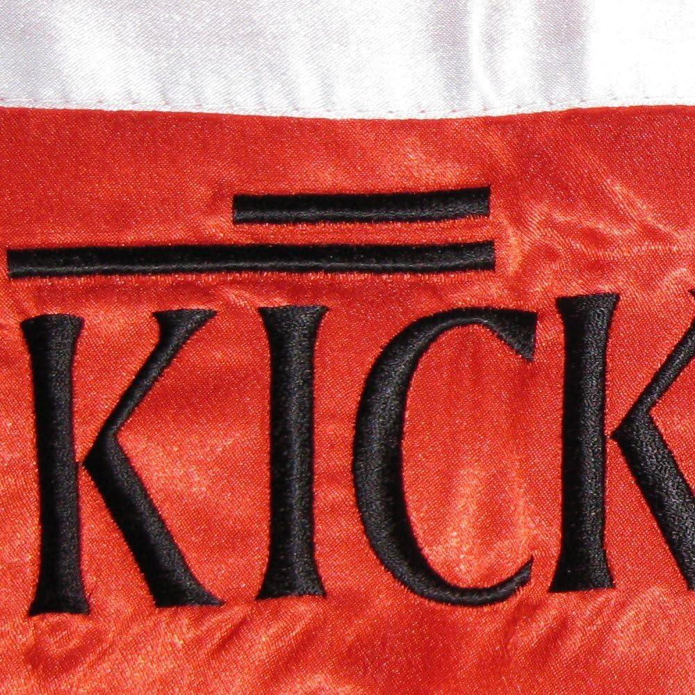 Thaiboxhose lang Satinhose wei/ß Bay EDEL Stick Kickboxhose Hose Kick-Boxen Thaiboxen Muay Thai Erwachsene Kinder, Aufschrift Kickboxen rot mit wei/ßen Seitenstreifen