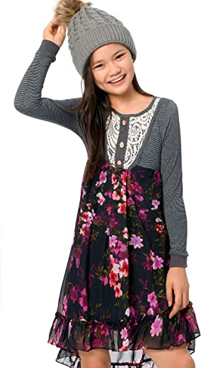 Truly Me, Big Girls' Long Sleeve Knit Woven Mix Media Dresses in Beautiful Colors and Prints, Size 7-16