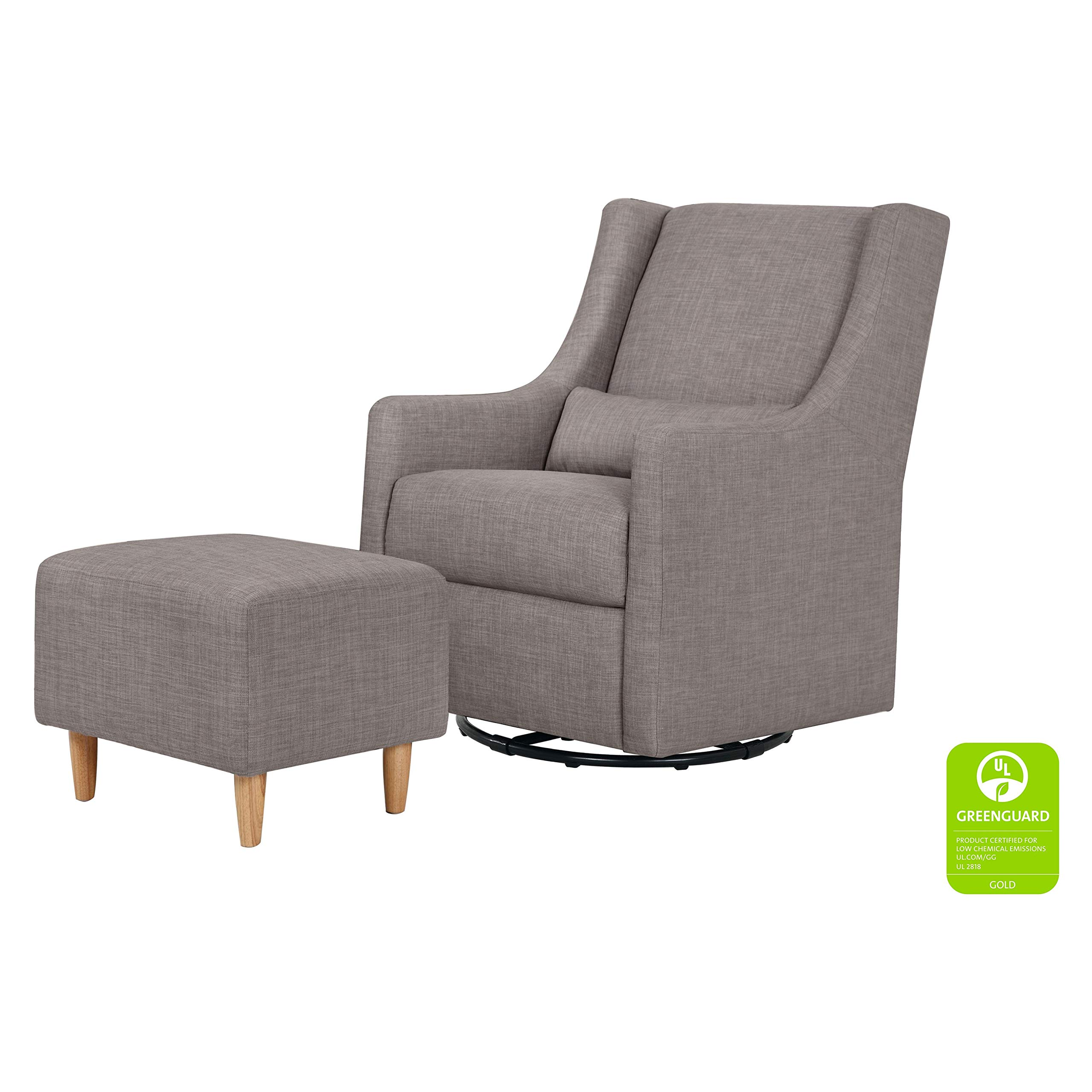 Babyletto Toco Upholstered Swivel Glider and Stationary Ottoman, Grey Tweed by babyletto