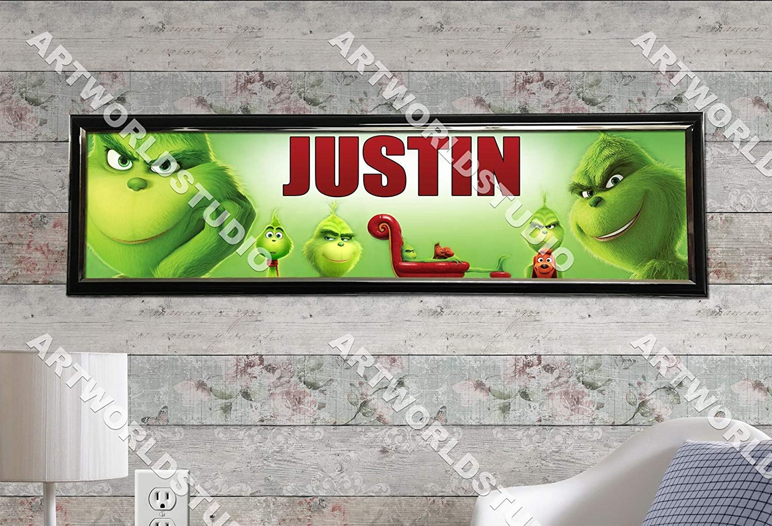 Personalized Customized The Grinch Name Banner Wall Poster with Frame