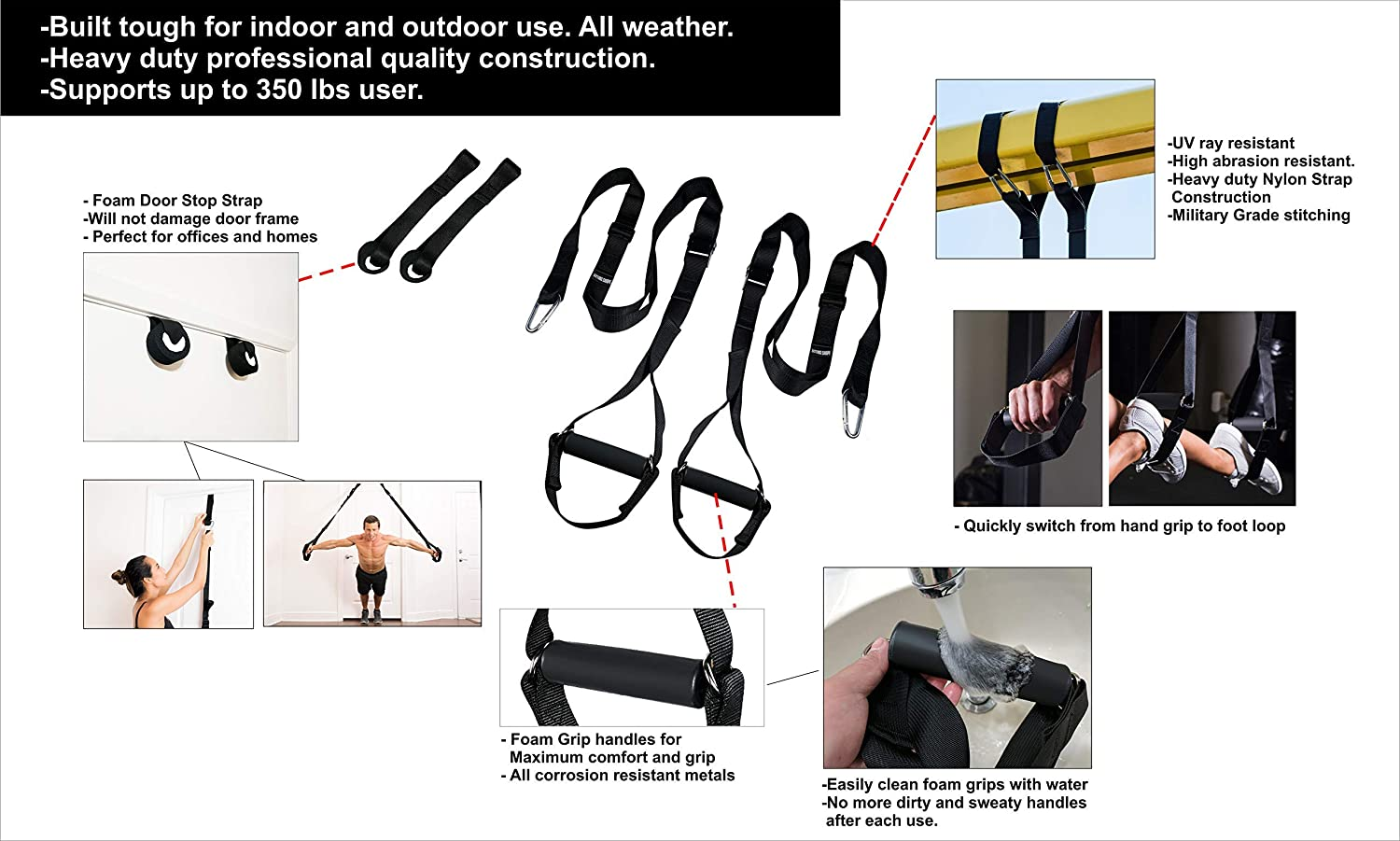 Indoor Gyms and Outdoors Easy Install for Door Up to 350 lbs Pull Up Bar or Anchor Point Bodyweight Resistance Fitness Trainer Straps Kit with Full Body Workout Poster Guide
