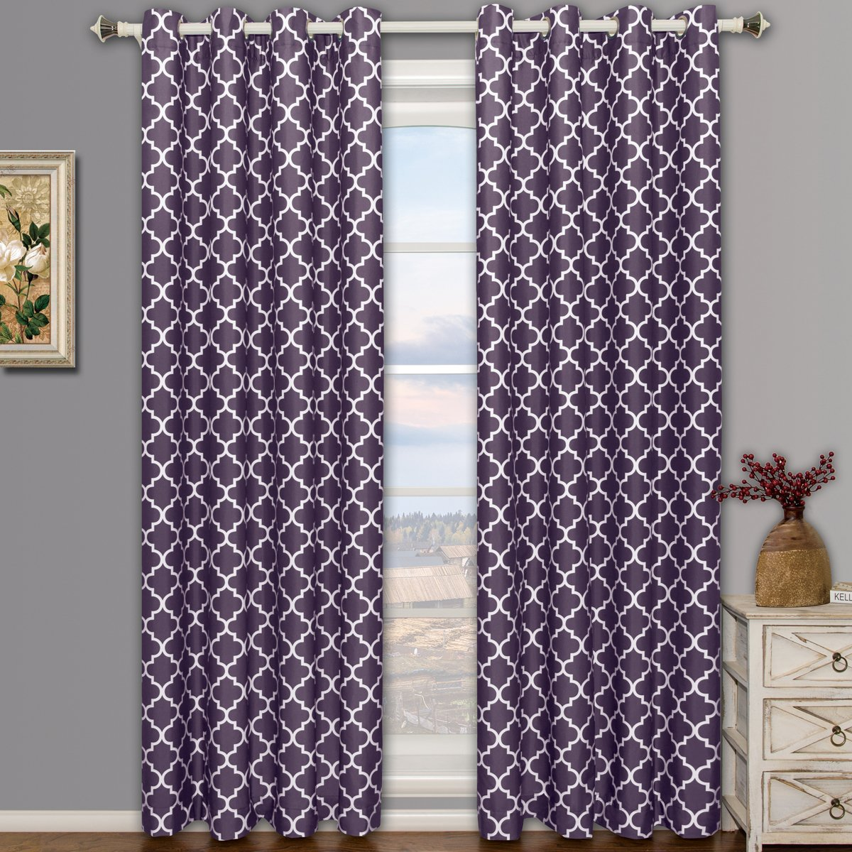 Meridian Purple Grommet Room Darkening Window Curtain Panels, Pair by Royal Hotel
