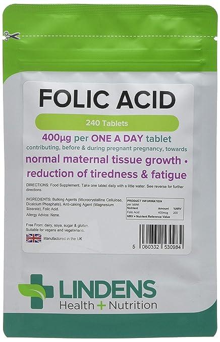 Lindens Ácido fólico 400 mcg en comprimidos | 240 Paquete | Apoya la formación normal de