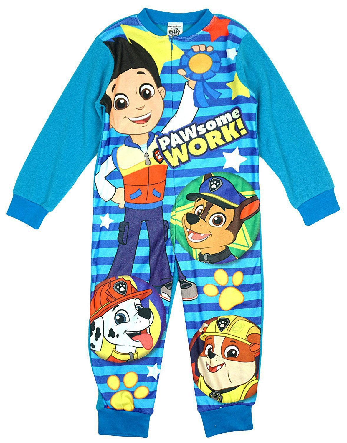 Paw Patrol Boys Licensed Ryder Chase Marshall Micro Fleece Onesies Age 2 To 6 Years