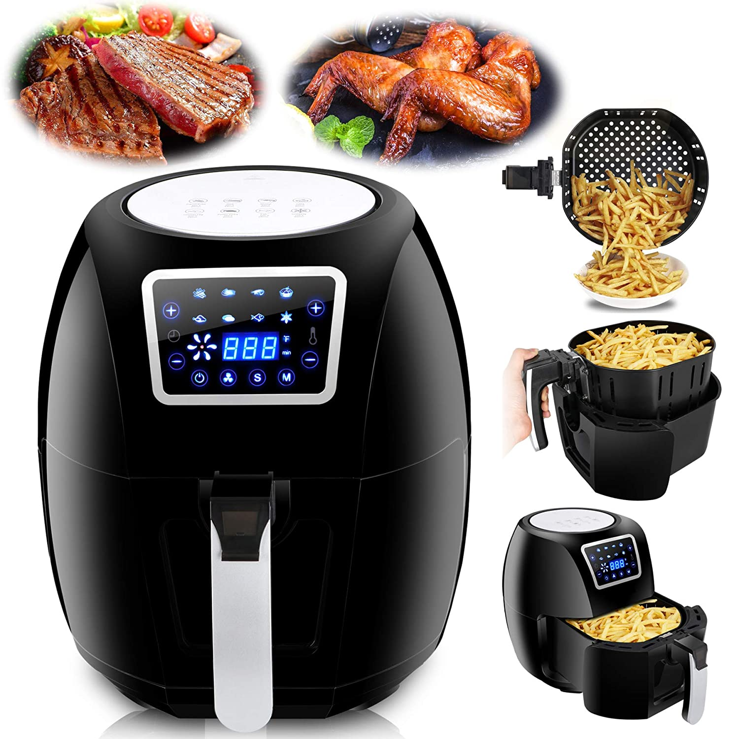 F2C XL 6.3QT 8-in 1 Programmable Electric Oil-Free Air Fryer Hot Deep Fryer Cooker Air Roaster Full Touch Digital LCD Screen Airfryer Fasting Cooking Non-Stick W/Detachable Basket& Recipe Books 1800W (6.3QT Black) F2C-AF10B