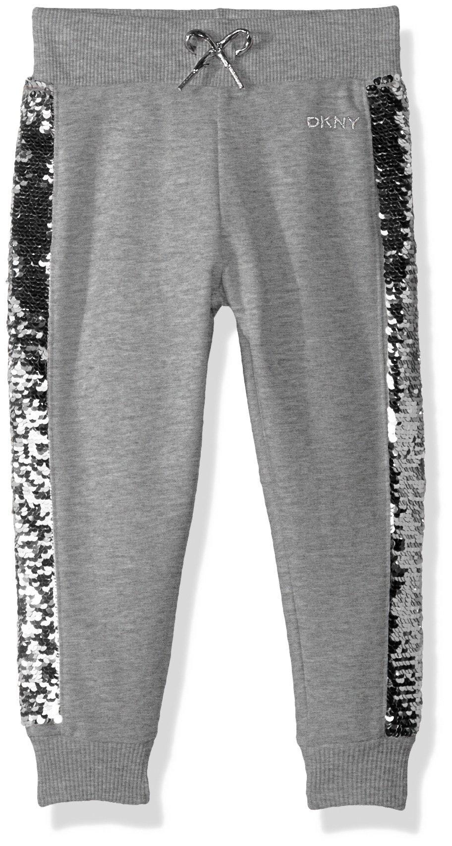 DKNY Big Girls' Casual Pant, Flip Sequin Light Heather, 8/10