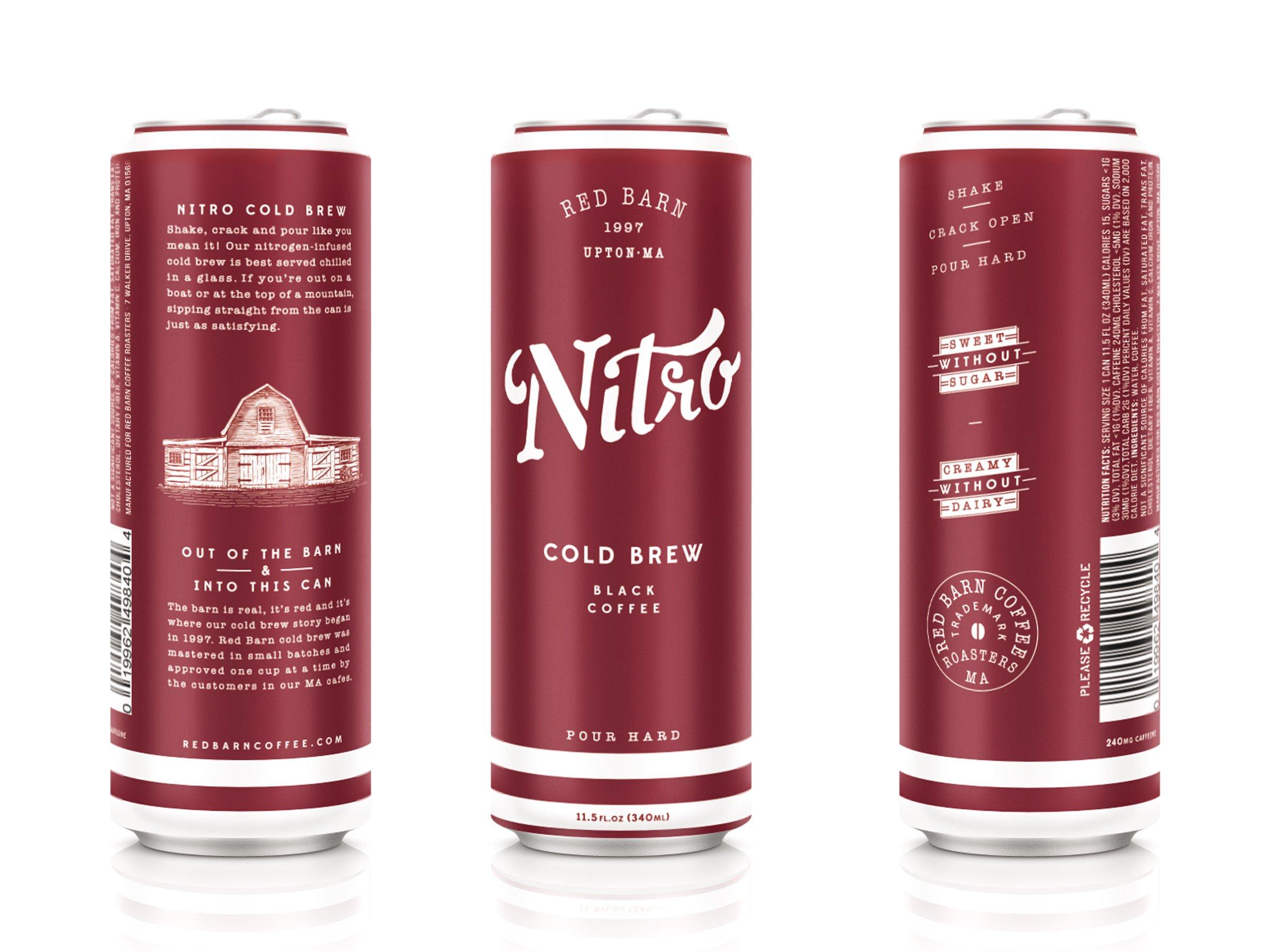 Nitro Cold Brew Coffee (12 11.5 fl. oz. cans)   Red Barn Coffee Roasters   Shelf Stable – No Preservatives   3 Ingredients – Coffee, Water, Nitrogen   240 MG Caffeine