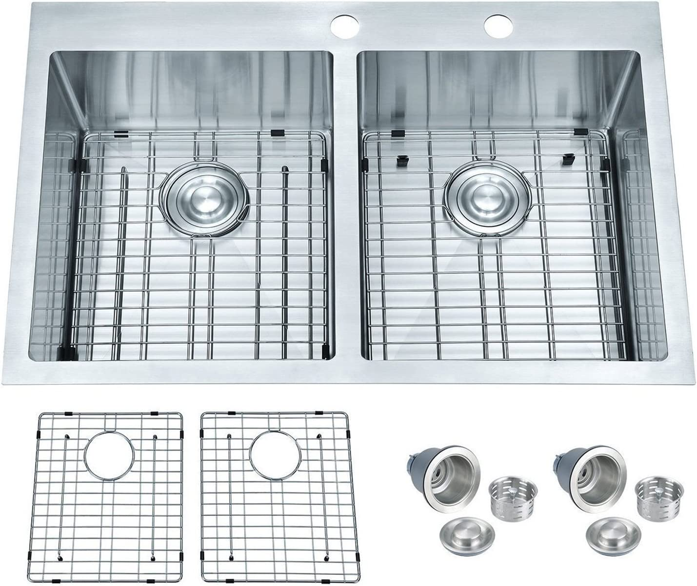 BILLION Topmount or Drop-in Sink 50 50 Equal Double Bowl Drop-in Overmount 16 Gauge Handcrafted Stainless Steel Kitchen Sink, with Bottom Grid and Drainer, 33 L x 22 W x 10 H