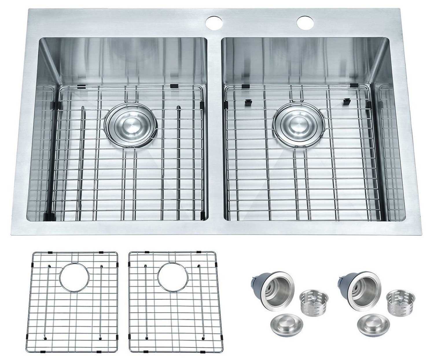 BILLION Topmount or Drop-in Sink 50/50 Equal Double Bowl Drop-in Overmount 16 Gauge Handcrafted Stainless Steel Kitchen Sink, with Bottom Grid and Drainer, 33'' L x 22'' W x 10'' H