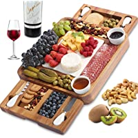ABELL Cheese Board and Knife Set, Acacia Charcuterie Boards Platter Serving Tray with Double Side Marble Slab for…